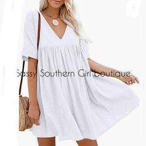 ⭐🆕Boho white flowy babydoll linen dress